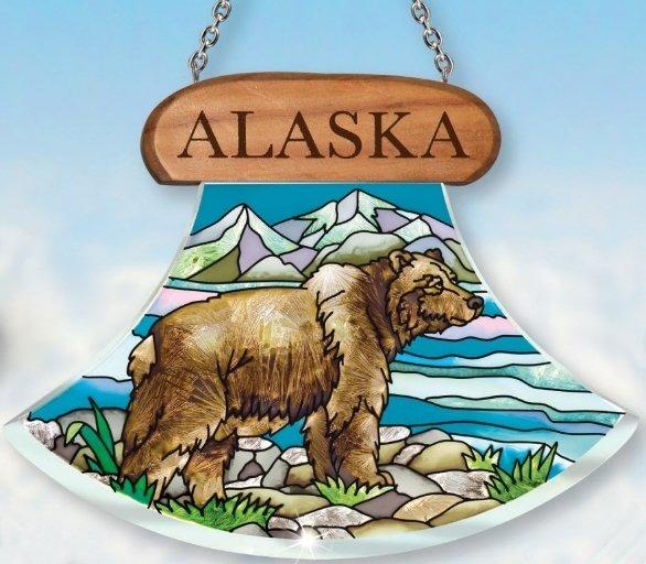 Amia 7422 Alaska Grizzly Bear Ulu Shaped Suncatcher