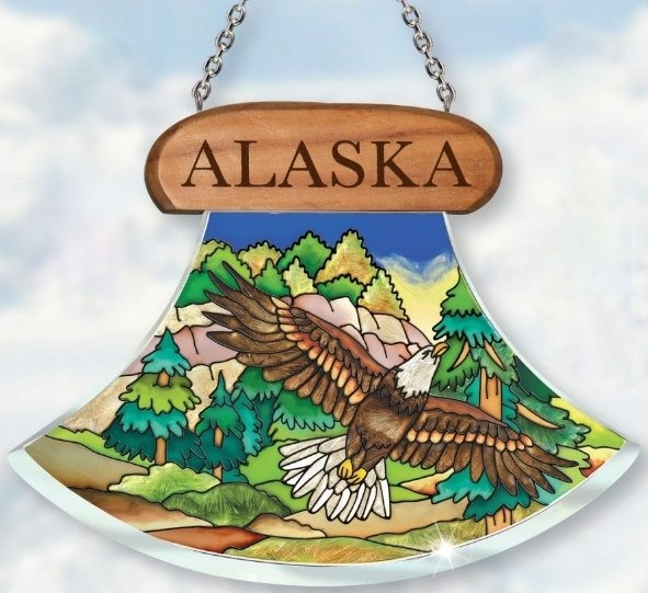 Amia 7430 Alaska Eagle Ulu Shaped Suncatcher