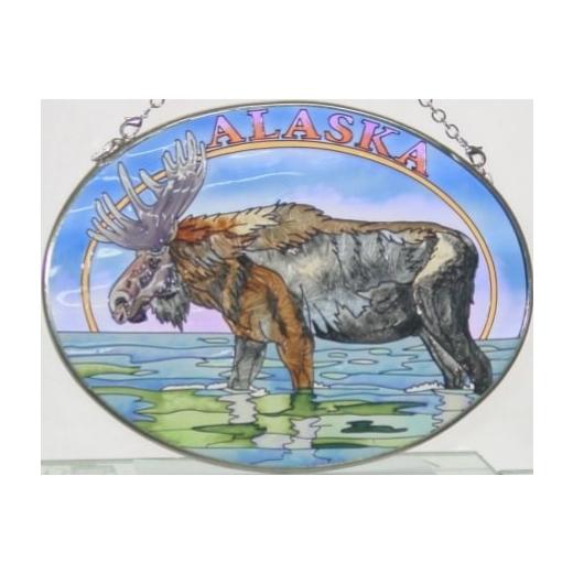 Amia 7432 Alaska Moose and Stream Medium Oval Suncatcher