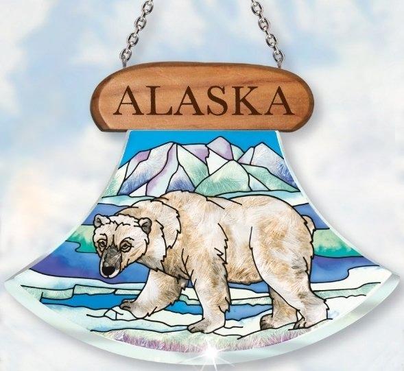 Amia 7434 Alaska Polar Bear Ulu Shaped Suncatcher