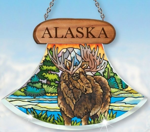 Amia 7442 Alaska Moose Ulu Shaped Suncatcher