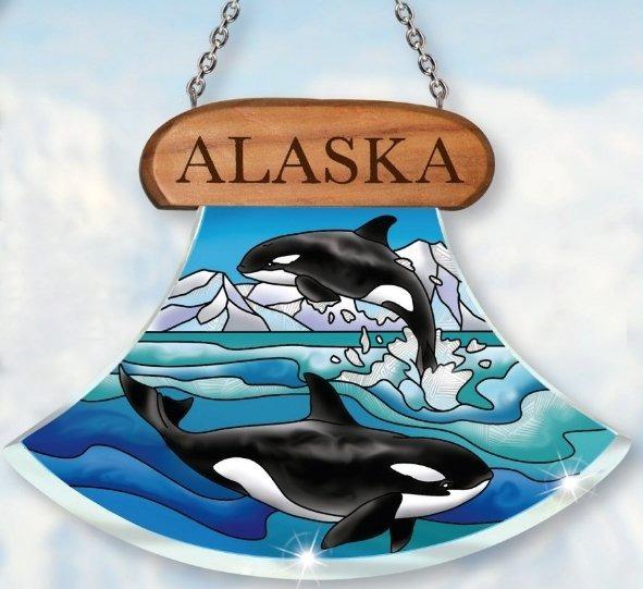 Amia 7443 Alaska Orcas Suncatcher