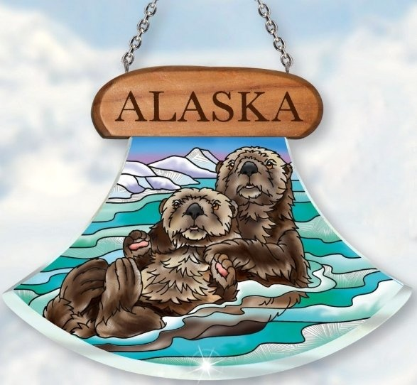 Amia 7444 Alaska Sea Otters Suncatcher