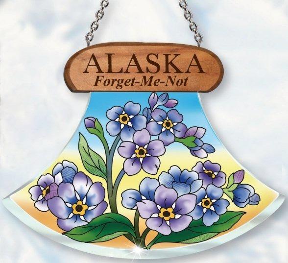 Amia 7449 Alaska Forget Me Nots Ulu Shaped Suncatcher