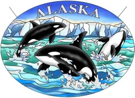 Amia 7453 Alaska Orcas Large Oval Suncatcher