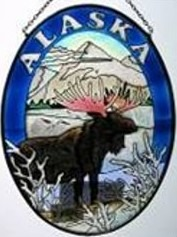 Amia 7459 Alaska Moose Medium Oval Suncatcher