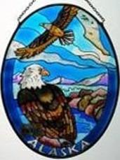 Amia 7461 Alaska Eagle Medium Oval Suncatcher