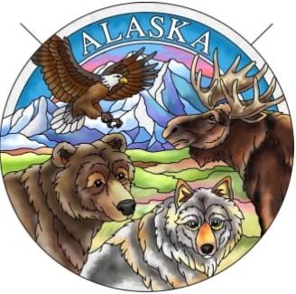 Amia 7470 Alaska Foursome Large Circle Suncatcher