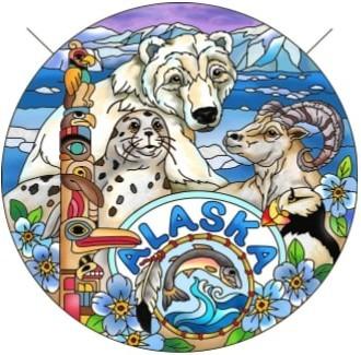 Amia 7479 Alaska Totem Pole Animals Large Circle Suncatcher