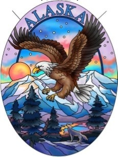 Amia 7504 Alaska Eagle Mnt Medium Oval Suncatcher