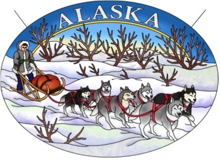 Amia 7520 Alaska Dog Sled Large Oval Suncatcher