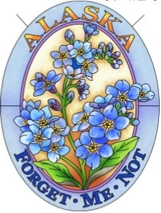 Amia 7521 Alaska Forget Me Not Medium Oval Suncatcher