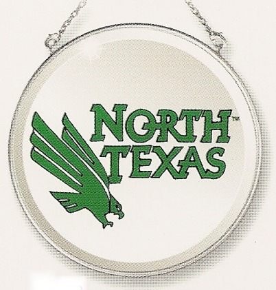 Amia 7537 University North Texas Mean Green Beveled Medium Circle Suncatcher