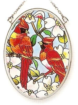 Amia 7550 Cardinal Small Oval Suncatcher