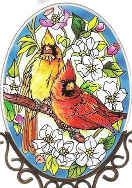 Amia 7555 Orchard Cardinals Medium Oval Suncatcher