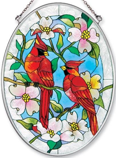 Amia 7559 Cardinal Medium Oval Suncatcher