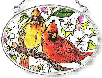 Amia 7567 Orchard Cardinals Small Oval Suncatcher