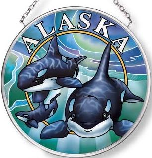 Amia 7572 Alaska Orca Small Circle Suncatcher