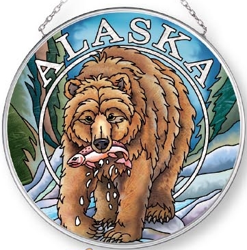 Amia 7573 Alaska Grizzly Medium Circle Suncatcher