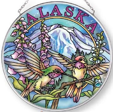 Amia 7574 Alaska Hummingbird Medium Circle Suncatcher