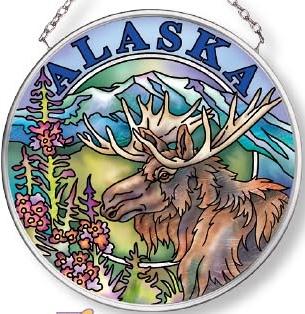 Amia 7575 Alaska Moose Small Circle Suncatcher
