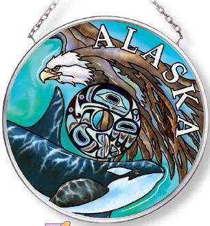 Amia 7576 Alaska Eagle Orca Small Circle Suncatcher