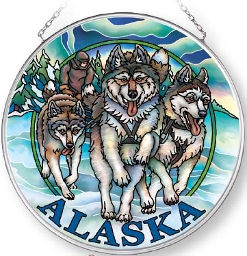 Amia 7578 Alaska Wolves Medium Circle Suncatcher