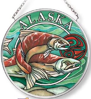 Amia 7579 Alaska Salmon Small Circle Suncatcher