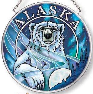 Amia 7580 Alaska Polar Bear Small Circle Suncatcher
