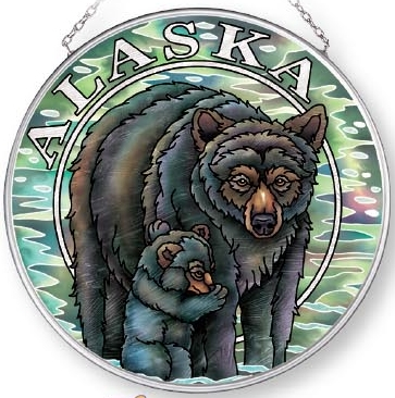 Amia 7581 Alaska Bear Cub Medium Circle Suncatcher