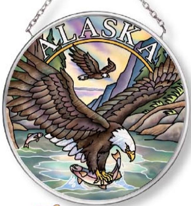 Amia 7583 Alaska Eagle Small Circle Suncatcher