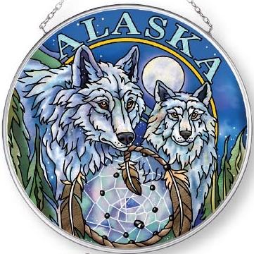 Amia 7584 Alaska Wolf Medium Circle Suncatcher