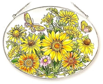 Amia 7624 Garden of Daisies Large Oval Suncatcher