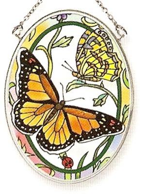 Amia 7655 Rainbows & Butterflies Small Oval Suncatcher