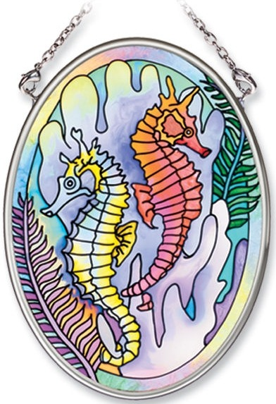 Amia 7732 Seahorses Haven Small Oval Suncatcher