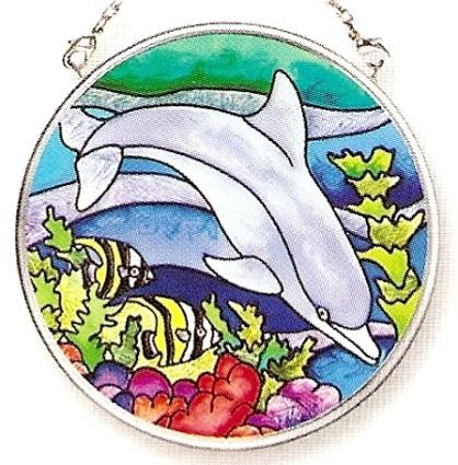 Amia 7755 Dolphin Friend Small Circle Suncatcher
