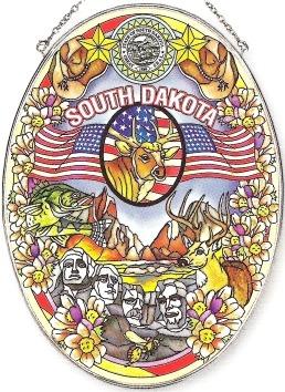 Amia 7758 South Dakota Large Oval Suncatcher