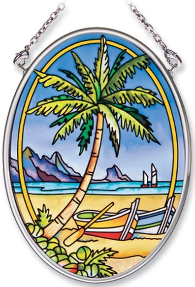 Amia 7765 Tropical Palm Small Oval Suncatcher
