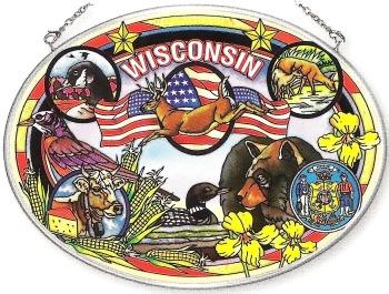 Amia 7770 Wisconsin Large Oval Suncatcher