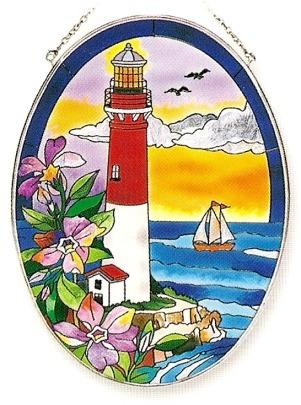 Amia 7789 Pansies Lighthouse Large Oval Suncatcher