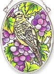 Amia 7823 Grapevine Morning Doves Small Oval Suncatcher