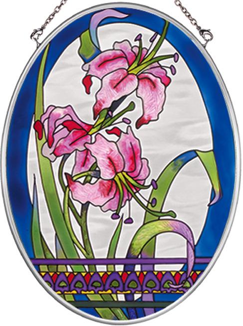 Amia 7911 Pink Lilies Medium Oval Suncatcher