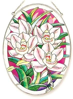 Amia 7955 Cymbidium Orchid Large Oval Suncatcher