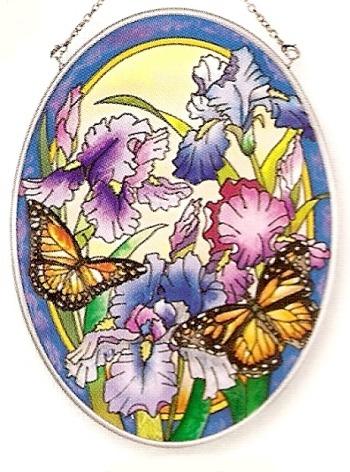 Amia 7964 Iris & Butterfly Medium Oval Suncatcher