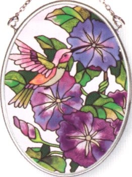Amia 7982 Morning Glories Small Oval Suncatcher