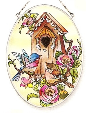 Amia 8107 Bluebird Chalet Medium Oval Suncatcher
