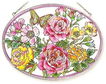 Amia 8116 Garden Of Roses Large Oval Suncatcher