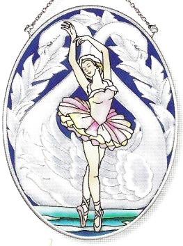 Amia 8129 Ballet Dancer Medium Oval Suncatcher
