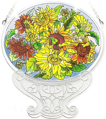 Amia 8139 Sunflowers Jumbo Circle Suncatcher