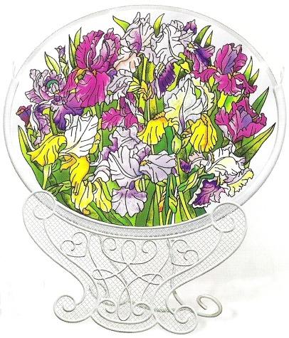 Amia 8140 Field of Iris Jumbo Circle Suncatcher